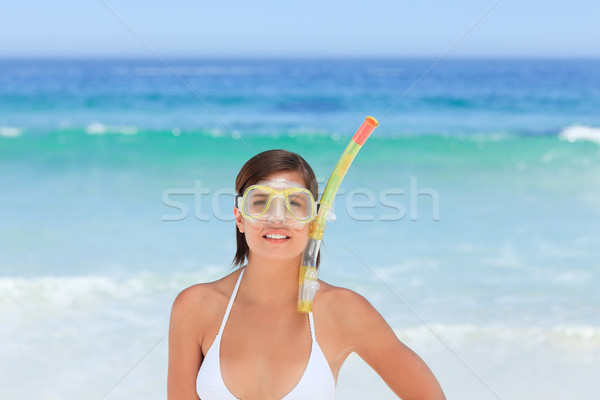 Mulher máscara praia biquíni palma peito Foto stock © wavebreak_media