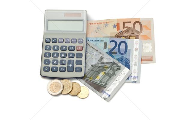 Monet pieniężnych kieszeni Kalkulator biały ceny Zdjęcia stock © wavebreak_media