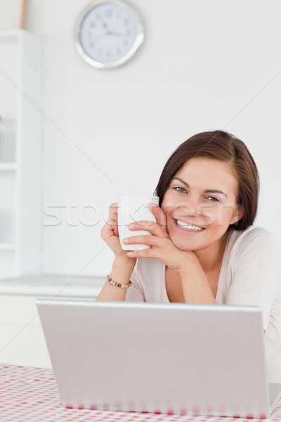 Smiling dark-haired woman using her laptop and having a tea in her kitchen Stock photo © wavebreak_media