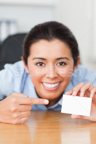 Dobrze wygląda kobieta karty biuro szczęśliwy Zdjęcia stock © wavebreak_media