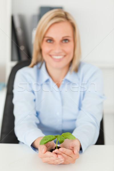 笑みを浮かべて 女性実業家 緑 工場 ストックフォト © wavebreak_media