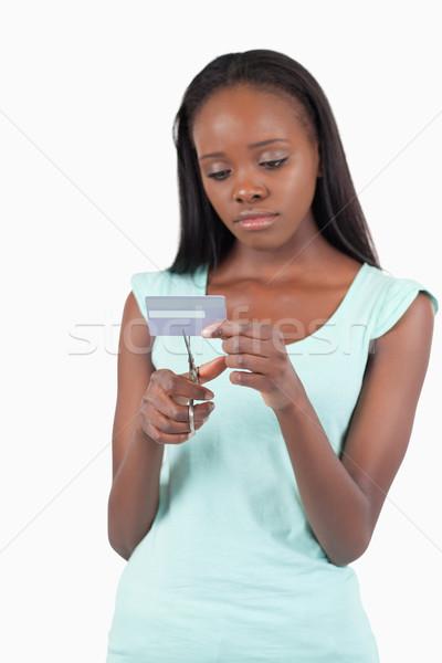Stok fotoğraf: üzücü · kadın · kredi · kartı · beyaz · arka · plan · finanse