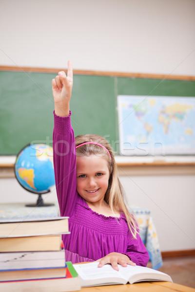 Portrait jeunes écolière main classe crayon Photo stock © wavebreak_media