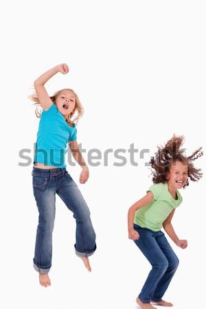 Mosolyog tinédzser kéz levegő barát érintés Stock fotó © wavebreak_media