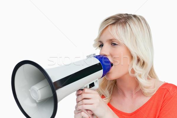 Aantrekkelijk vrouw naar kant megafoon Stockfoto © wavebreak_media