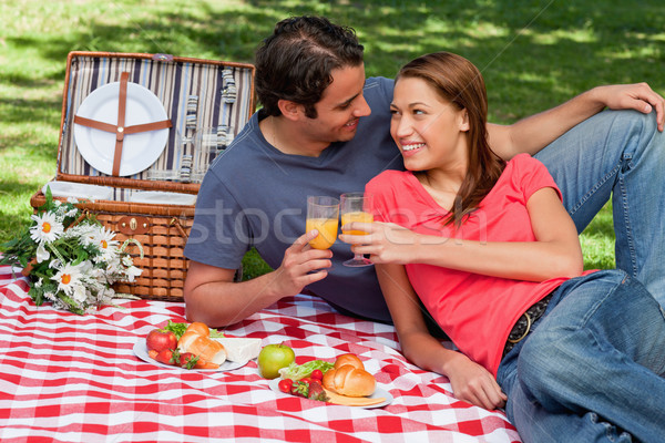 Two friends touching glasses while looking at each other as they lie together on a blanket with picn Stock photo © wavebreak_media