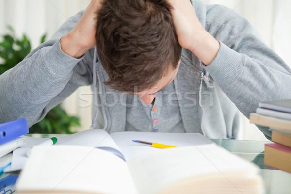 Diák haj házi feladat könyvek otthon szoba Stock fotó © wavebreak_media
