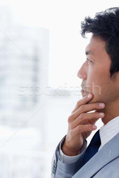 Portrait employé de bureau pense bureau affaires main Photo stock © wavebreak_media