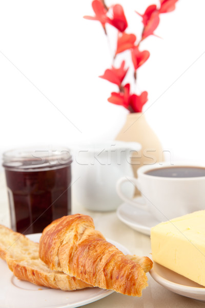 Stock photo: Table presentation for a breakfast against white background