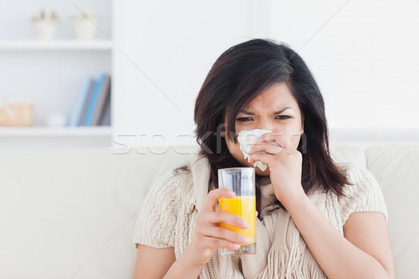 Сток-фото: женщину · стекла · апельсиновый · сок · гостиной · кофе