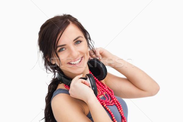 現代 若い女性 ヘッドホン 周りに 首 白 ストックフォト © wavebreak_media