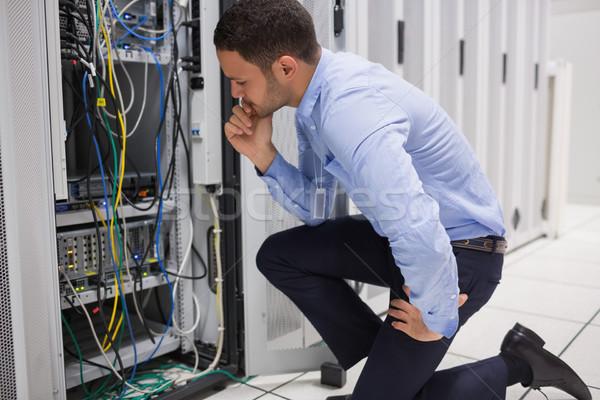 Technikus szerver adatközpont számítógép munka biztonság Stock fotó © wavebreak_media