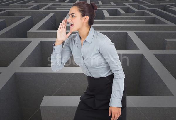 Composite image of businesswoman shouting Stock photo © wavebreak_media
