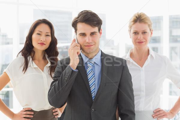 Stok fotoğraf: Gülen · işadamı · telefon · takım · ofis · iş