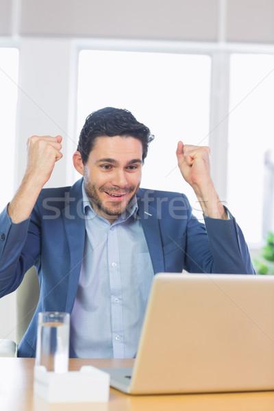ビジネスマン ラップトップを使用して 成功した オフィス 幸せ ノートパソコン ストックフォト © wavebreak_media