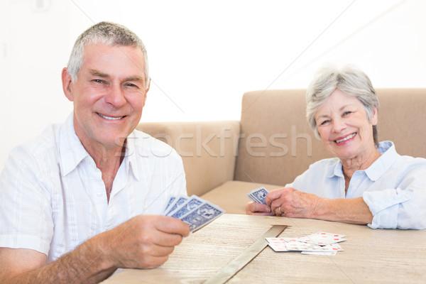 Boldog pár kártyapakli portré idős pár otthon Stock fotó © wavebreak_media