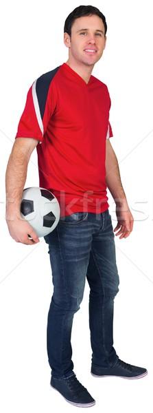 Futebol ventilador vermelho bola branco Foto stock © wavebreak_media