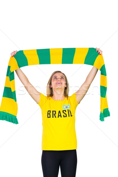 Сток-фото: возбужденный · футбола · вентилятор · футболки · белый