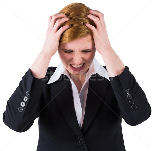 Kobieta interesu ręce głowie biały korporacyjnych Zdjęcia stock © wavebreak_media
