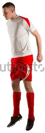 Fáradt futballista görbület fehér futball viselet Stock fotó © wavebreak_media