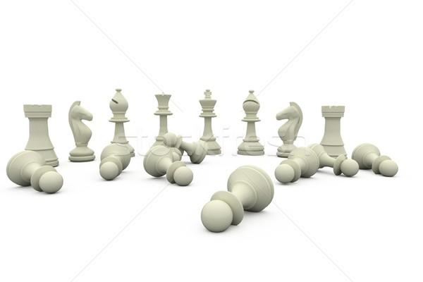 Fehér sakkfigurák áll sakk csapat digitális Stock fotó © wavebreak_media