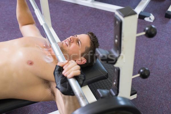 Póló nélkül testépítő emel nehéz súlyzó súly Stock fotó © wavebreak_media