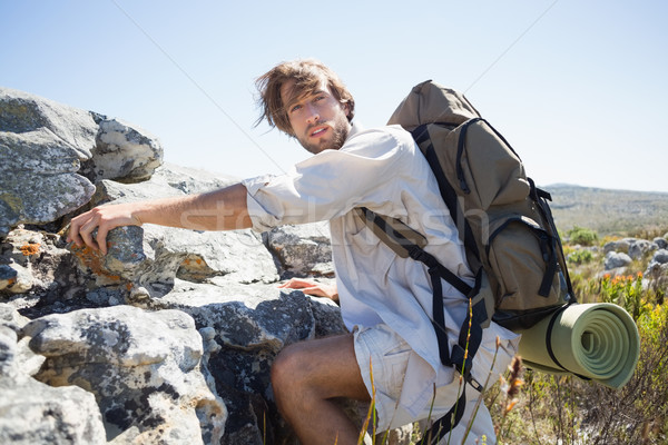 Handsome hiker hiking through rough terrain Stock photo © wavebreak_media