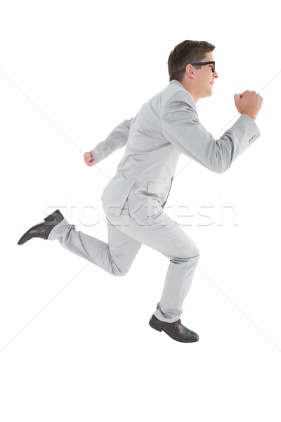 Geeky happy businessman running mid air Stock photo © wavebreak_media
