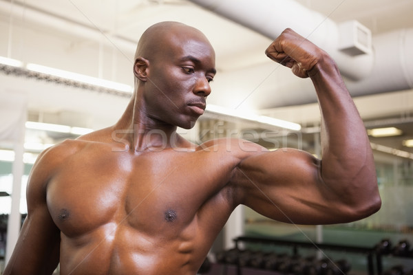 Muscular man flexing muscles in gym Stock photo © wavebreak_media