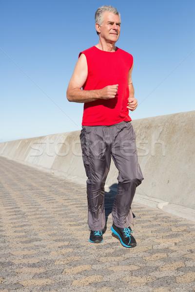 Aktywny starszy człowiek jogging molo Zdjęcia stock © wavebreak_media