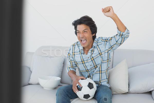 サッカー ファン を見て テレビ 肖像 ストックフォト © wavebreak_media
