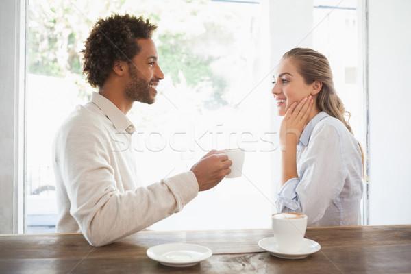 Foto stock: Feliz · Pareja · fecha · café · Cafetería · hombre