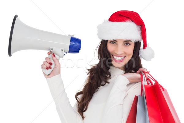 Uśmiechnięty brunetka dar torby megafon Zdjęcia stock © wavebreak_media
