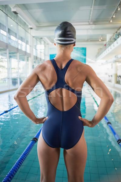 Rückansicht passen Schwimmer Pool Freizeit Zentrum Stock foto © wavebreak_media