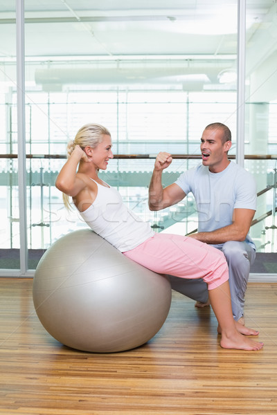 мужчины тренер женщину брюшной спортзал вид сбоку Сток-фото © wavebreak_media