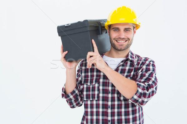 Gelukkig mannelijke toolbox schouder Stockfoto © wavebreak_media