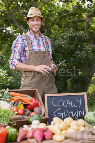 Farmer selling organic veg at market Stock photo © wavebreak_media