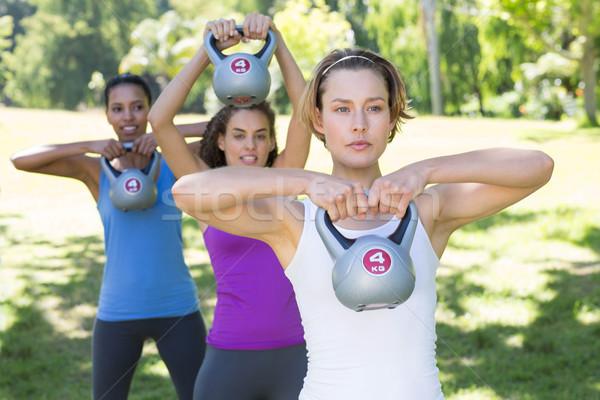 Fitnessz csoport edz park bogrács napos idő Stock fotó © wavebreak_media