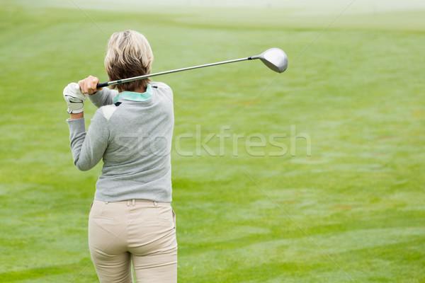 Senhora jogador de golfe dia nebuloso campo de golfe Foto stock © wavebreak_media