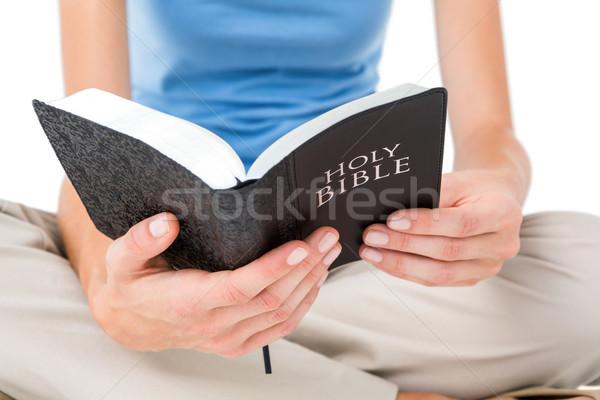 женщину сидят полу чтение Библии белый Сток-фото © wavebreak_media
