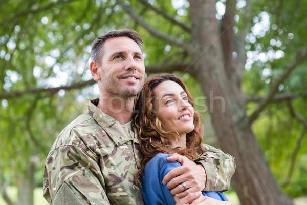 Yakışıklı asker ortak kadın ağaç Stok fotoğraf © wavebreak_media