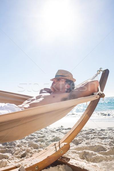 красивый мужчина гамак пляж человека счастливым Сток-фото © wavebreak_media