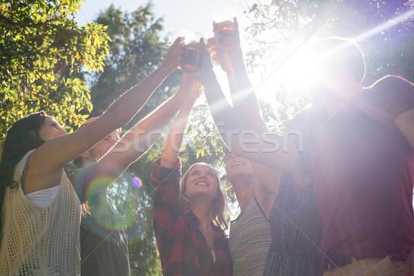 Happy friends in the park having beers Stock photo © wavebreak_media