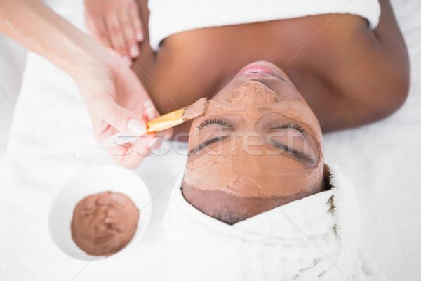 Csinos nő csokoládé kezelés gyógyfürdő nő hotel Stock fotó © wavebreak_media