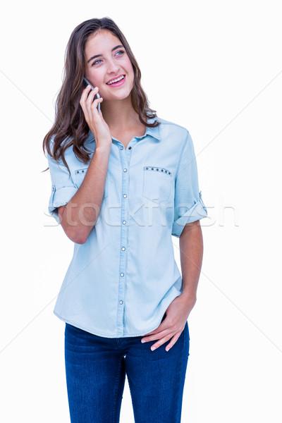 Csinos hipszter telefonbeszélgetés fehér boldog női Stock fotó © wavebreak_media
