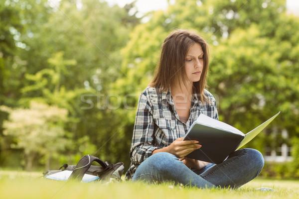 Egyetemi hallgató ül olvas könyv áll park Stock fotó © wavebreak_media