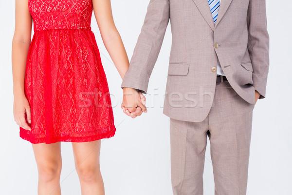 Hipszter pár áll kéz fehér férfi Stock fotó © wavebreak_media