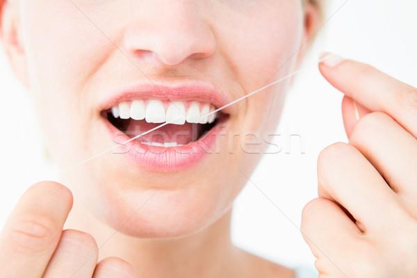 Stok fotoğraf: Güzel · kadın · diş · ipi · beyaz · gülümseme · kadın · temizlemek
