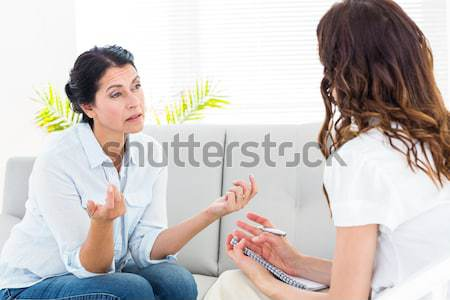 Bunalımlı kadın kanepe terapist Stok fotoğraf © wavebreak_media