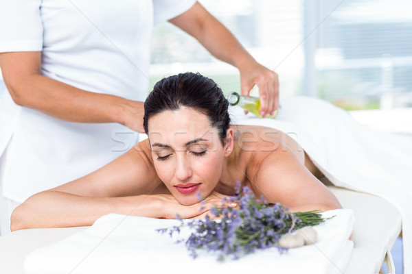Femme souriante aromathérapie traitement saine spa femme Photo stock © wavebreak_media
